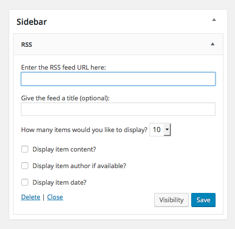 WordPress RSS Widget